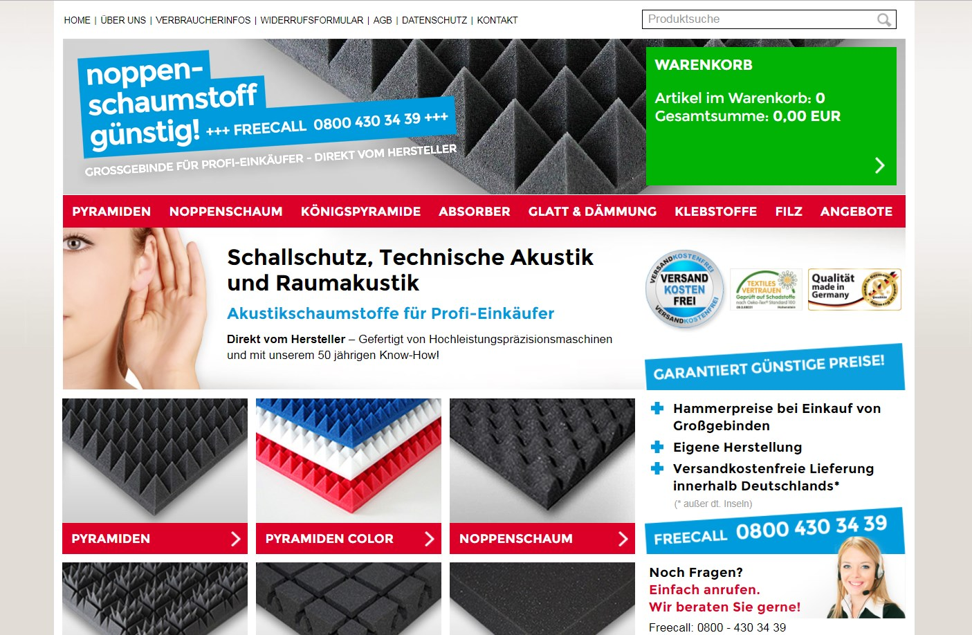 Gaetano Di Napoli - Matratzen | Schaumstoffe | Akustik - Screenshot vom Online-Shop Noppenschaumstoff günstig