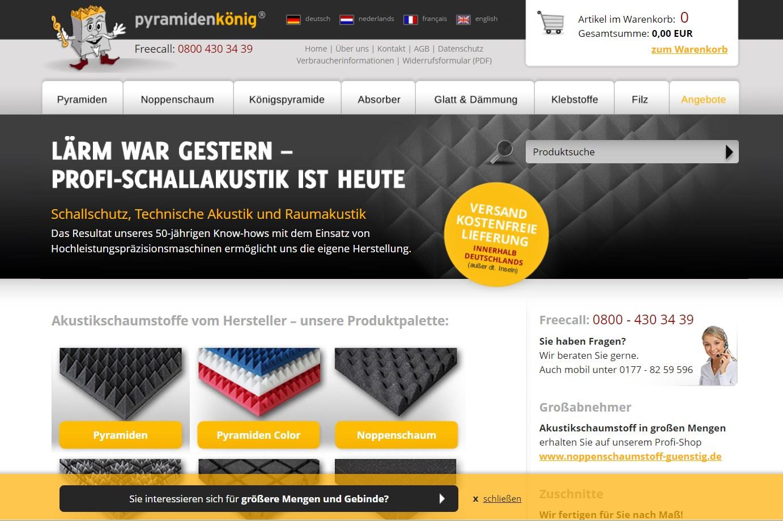 Gaetano Di Napoli - Matratzen | Schaumstoffe | Akustik - Screenshot vom Online-Shop Pyramidenkönig